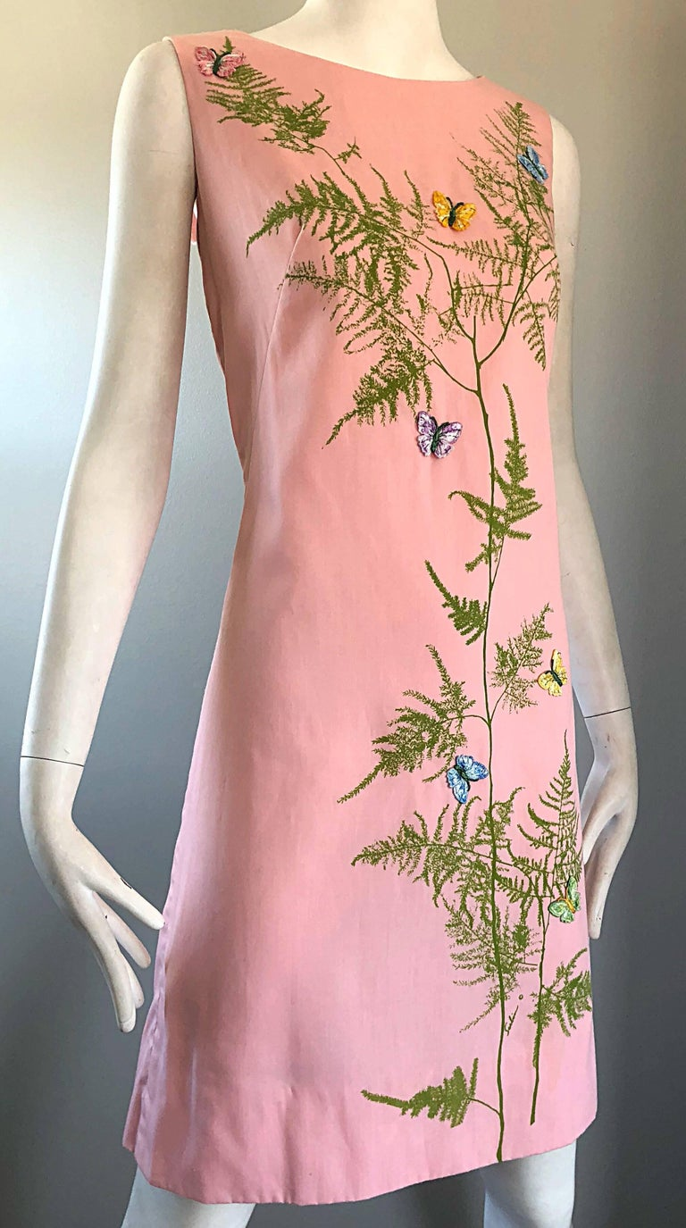 Incredible 1960/'s Pastel Pink Mini Shift with Floral Embroidery