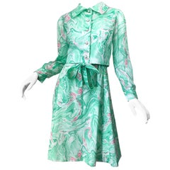 Chic 1960s Pastel Green and Pink Swirl Print A Line 60s Dress and Cropped Jacket
