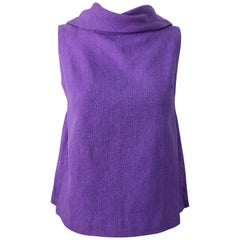 Chic 1960s Purple Linen Empire Waist Vintage 60s A Line Sleeveless Top Shirt