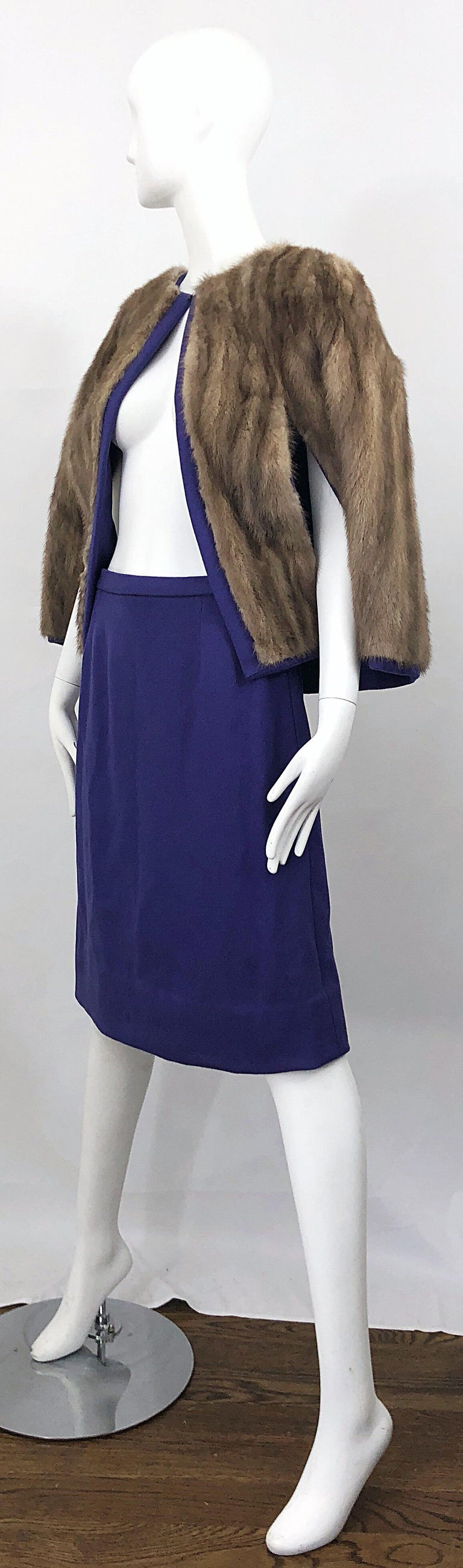 Chic 1960s Sable Fur Reversible Purple / Brown Cape + A Line Wool Vintage Skirt  For Sale 6