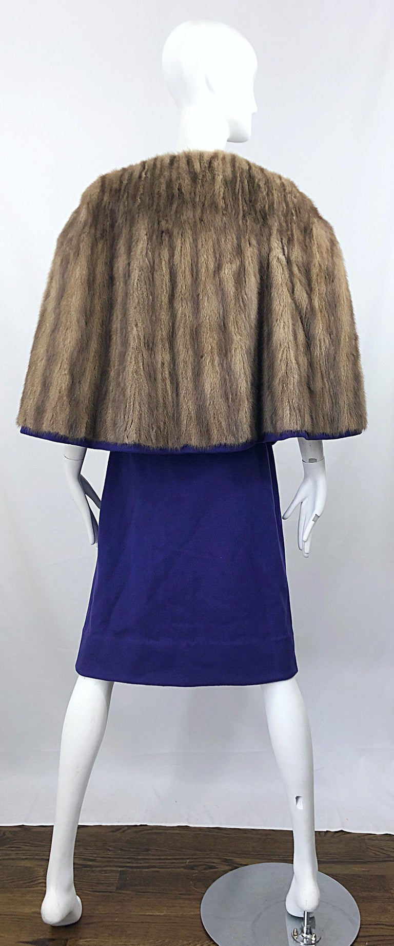 Chic 1960s Sable Fur Reversible Purple / Brown Cape + A Line Wool Vintage Skirt  For Sale 7
