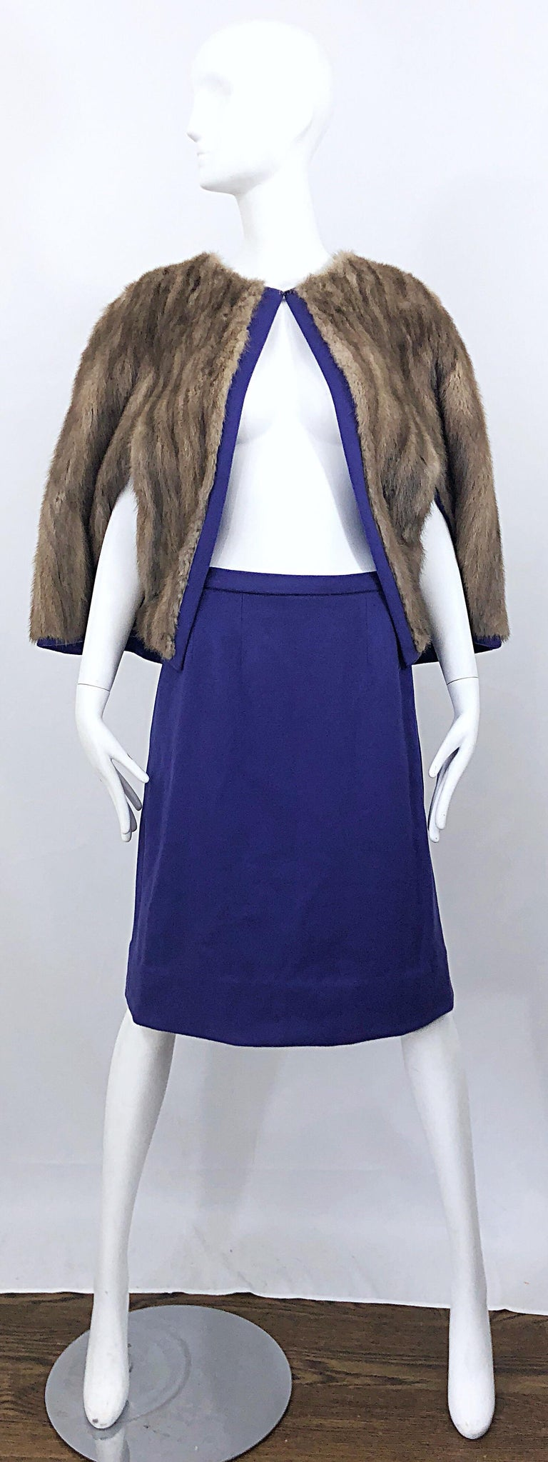 Chic 1960s Sable Fur Reversible Purple / Brown Cape + A Line Wool Vintage Skirt  For Sale 9