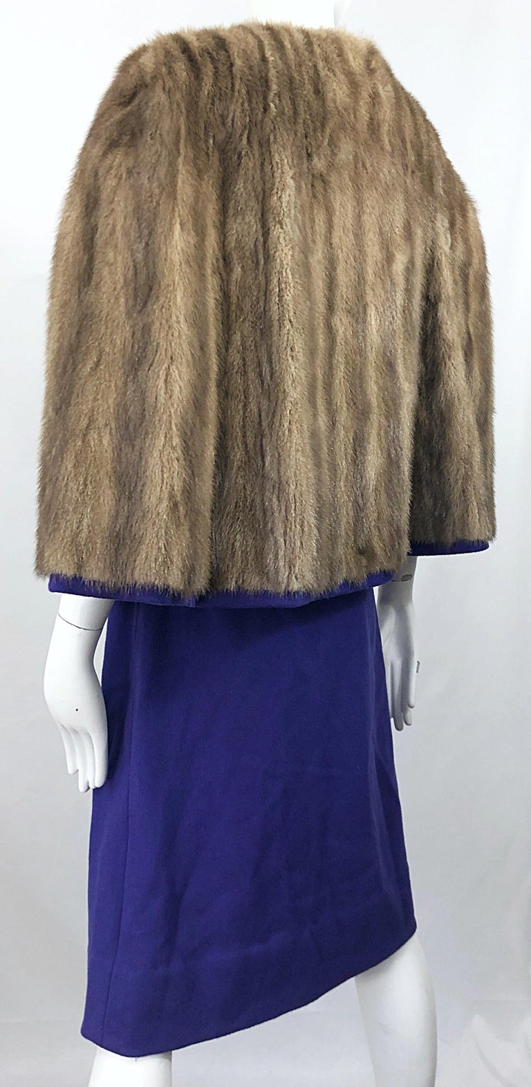 Women's Chic 1960s Sable Fur Reversible Purple / Brown Cape + A Line Wool Vintage Skirt  For Sale