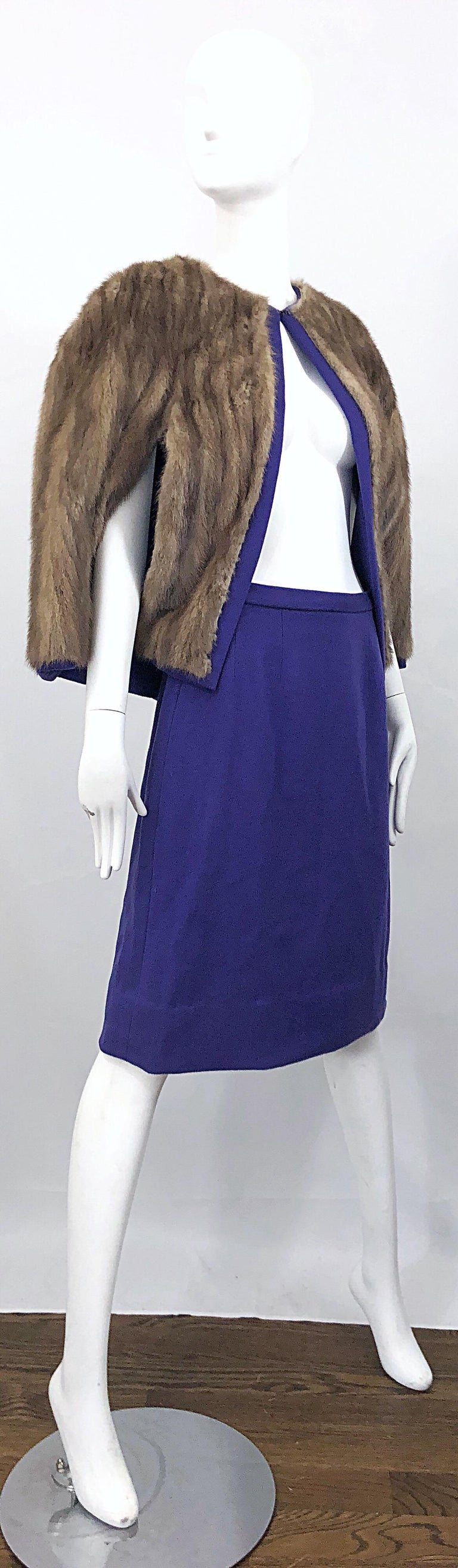 Chic 1960s Sable Fur Reversible Purple / Brown Cape + A Line Wool Vintage Skirt  For Sale 2