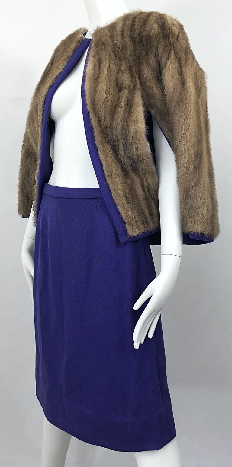 Chic 1960s Sable Fur Reversible Purple / Brown Cape + A Line Wool Vintage Skirt  For Sale 3