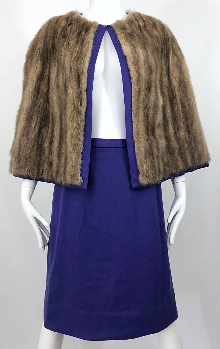 Chic 1960s Sable Fur Reversible Purple / Brown Cape + A Line Wool Vintage Skirt  For Sale 5