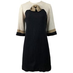 Chic 1960s Sherbert Originals Beige Black Linen Color Block Vintage Shift Dress