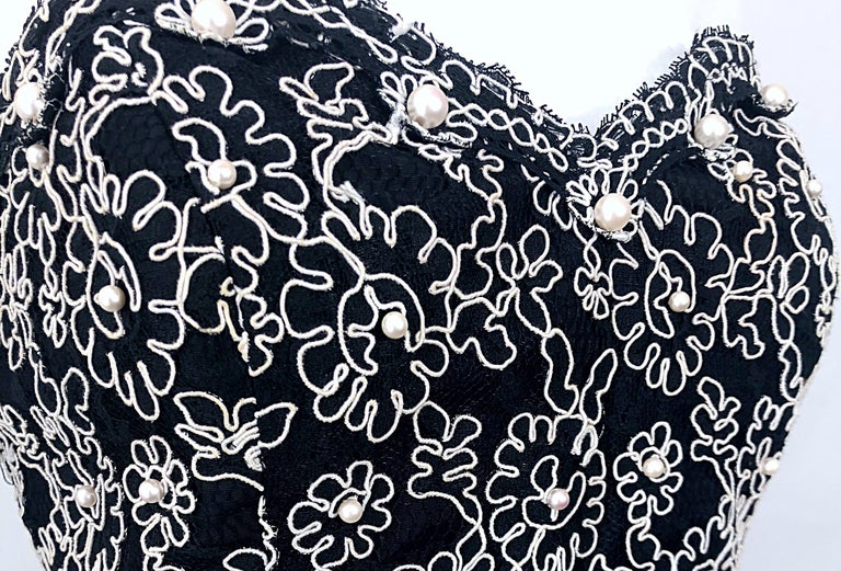 Chic 1980s Size 12 Strapless Pearl Encrusted Black and White Pouf Vintage Dress For Sale 2