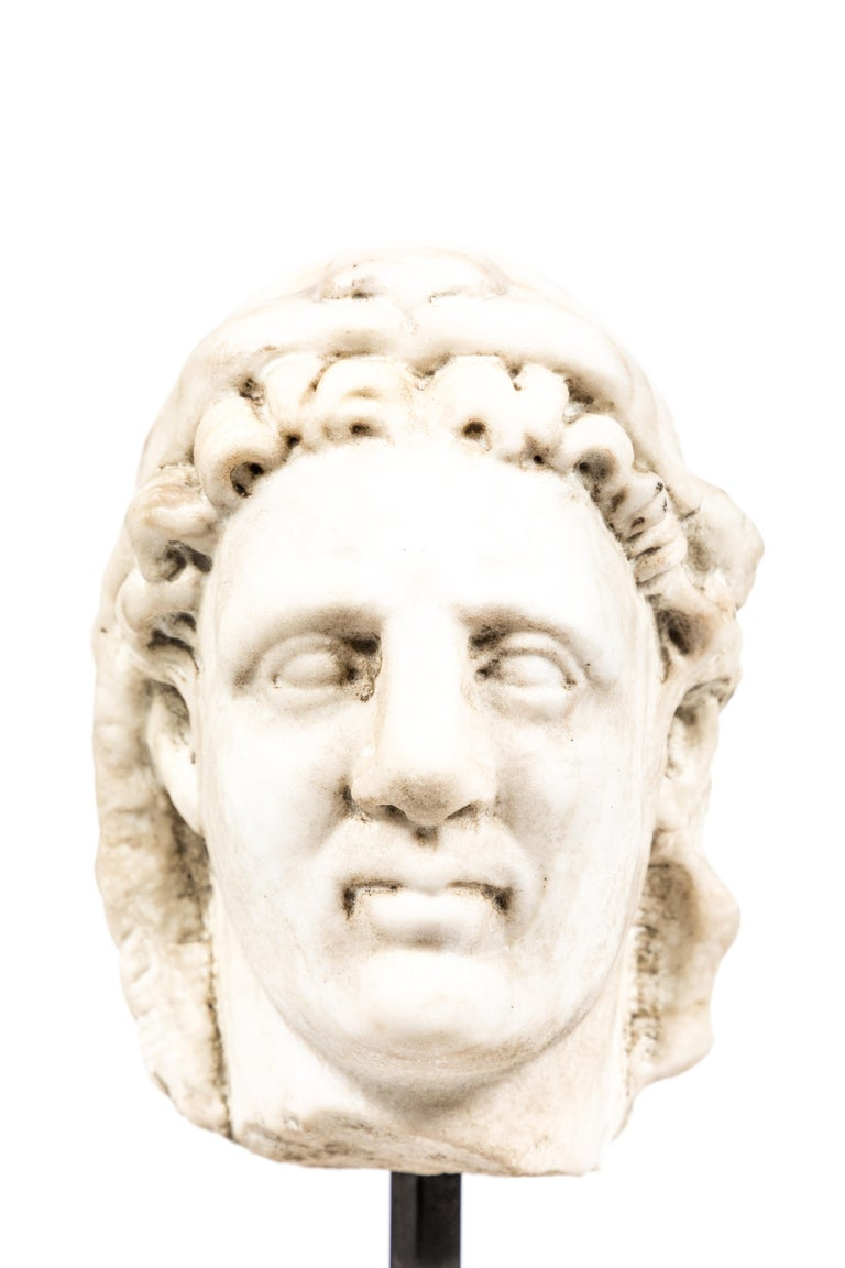 Timeless, Italian, Roman-style carved marble bust of a man in a lion's-pelt hood. Mounted on a custom, marble base.