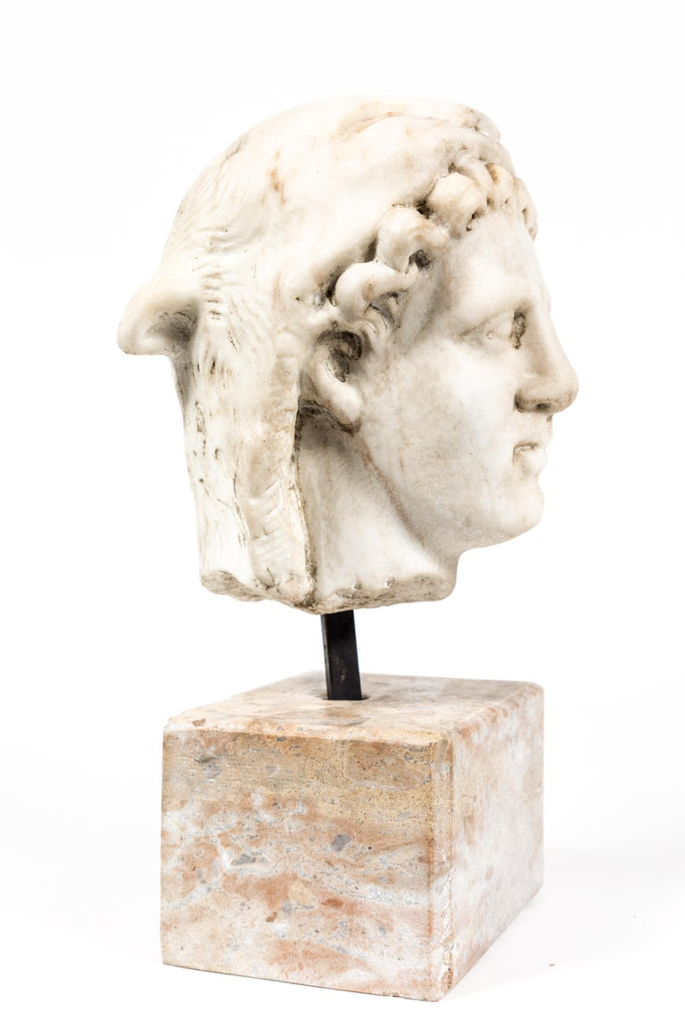 Italian Chic, Ancient-Style, Roman Marble Bust For Sale