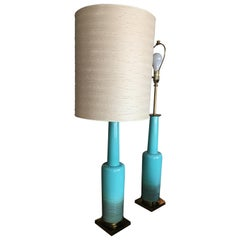 Chic and Rare Pair of Midcentury Tiffany Blue Lamps with Original Shades