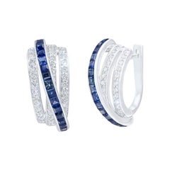 Chic and Stylish Baguette Blue Sapphire White Diamond Gold Lever-Back Earrings
