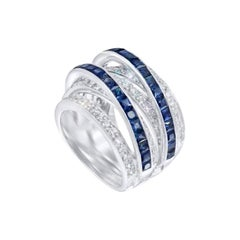 Chic and Stylish Baguette Blue Sapphire White Diamond Gold Statement Ring