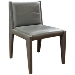 Chic and Stylish Leather Clad Side Chair in Light Gray