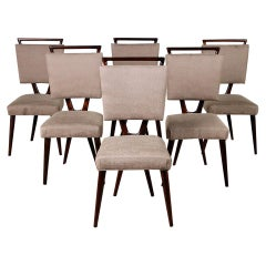 "Chic and Unique Midcentuey Mahogany ""X"" Backed Dining Chairs"