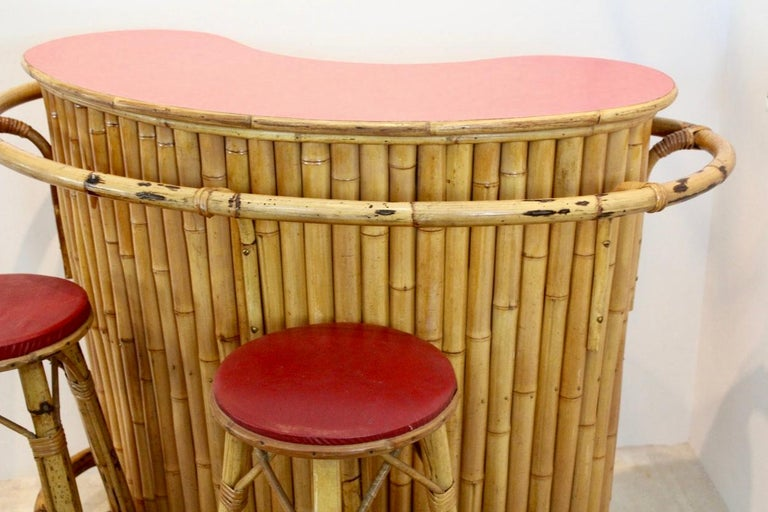 Amazing Chic And Versatile French Midcentury Rattan And Bamboo Tiki Bar With Stools Customarchery Wood Chair Design Ideas Customarcherynet