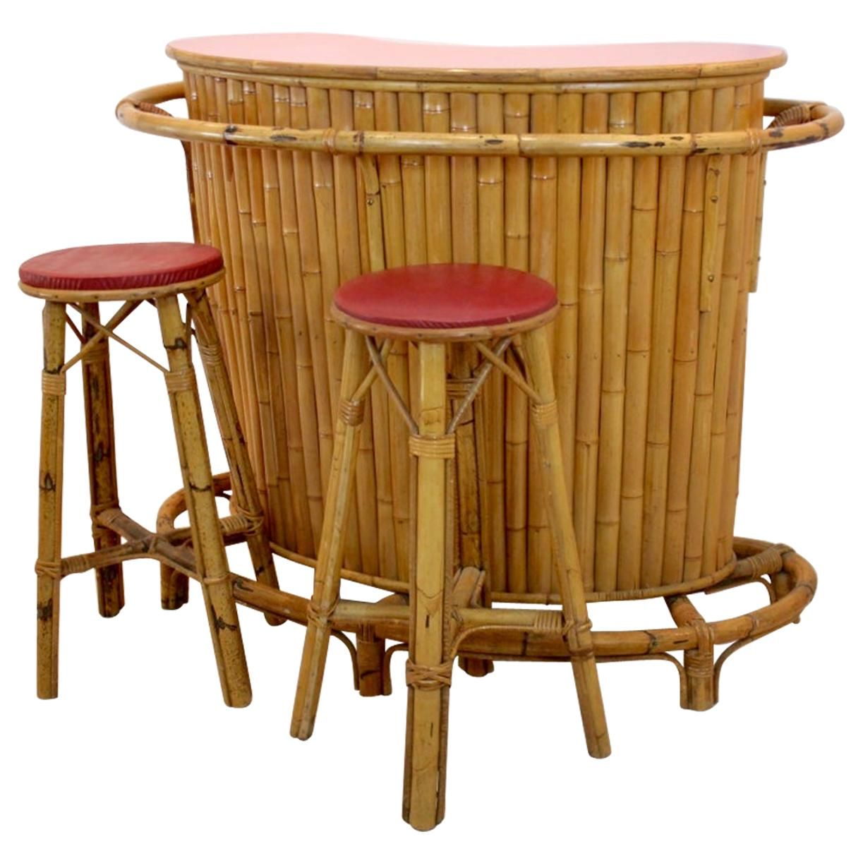 Chic and Versatile French Midcentury Rattan and Bamboo Tiki Bar with Stools