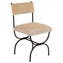 Chic 'Arcade' Wrought Iron and Shearling Side Chair by Design Frères