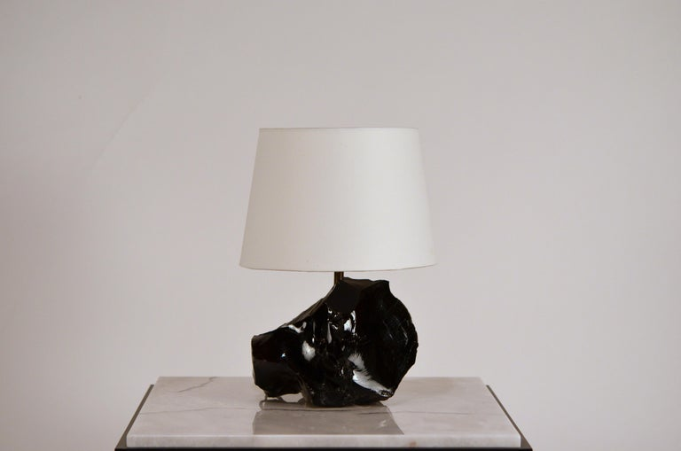 Chic Art Deco Obsidienne or Obsidian Stone Lamp with Parchment Shade 3