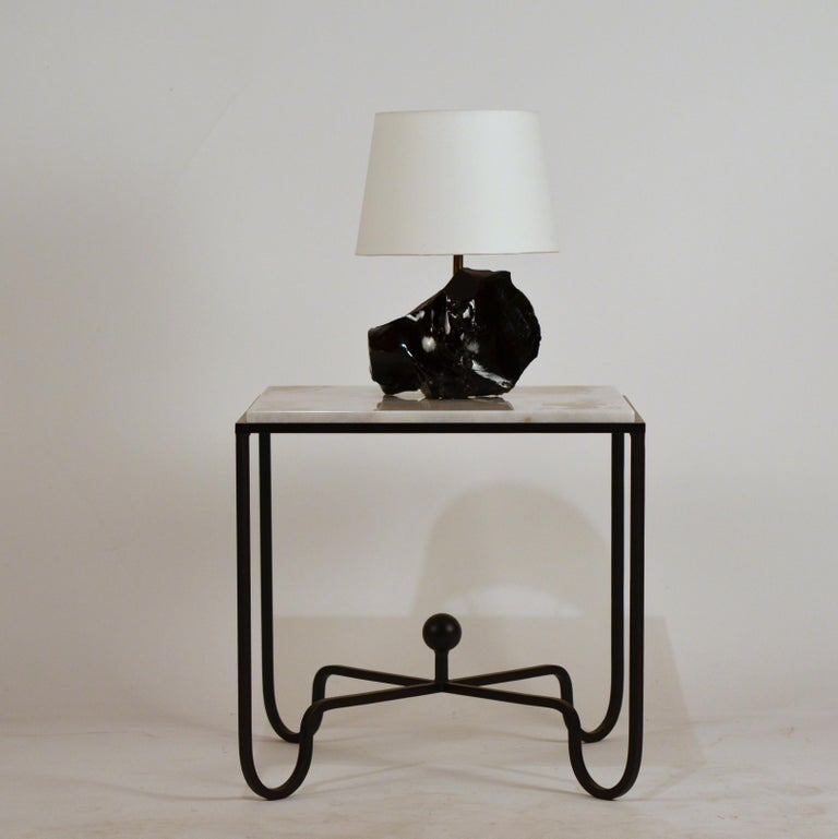 French Chic Art Deco Obsidienne or Obsidian Stone Lamp with Parchment Shade