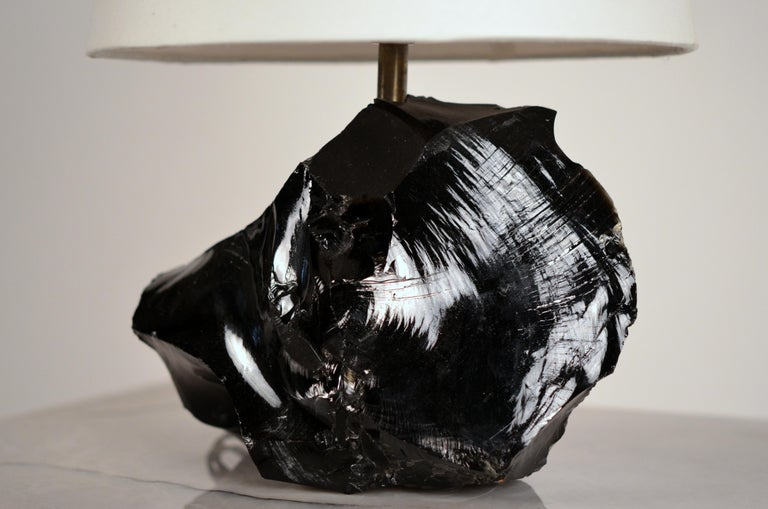 Mid-20th Century Chic Art Deco Obsidienne or Obsidian Stone Lamp with Parchment Shade