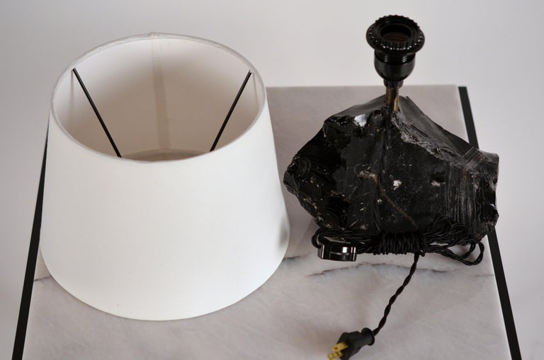 Chic Art Deco Obsidienne or Obsidian Stone Lamp with Parchment Shade 1
