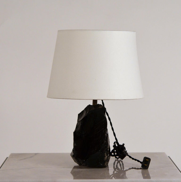 Chic Art Deco Obsidienne or Obsidian Stone Lamp with Parchment Shade 2