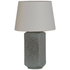 Chic Art Deco Shagreen Glaze Ceramic Lamp with Parchment Shade