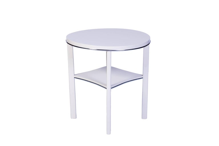 French Chic Art Deco Side Table in White