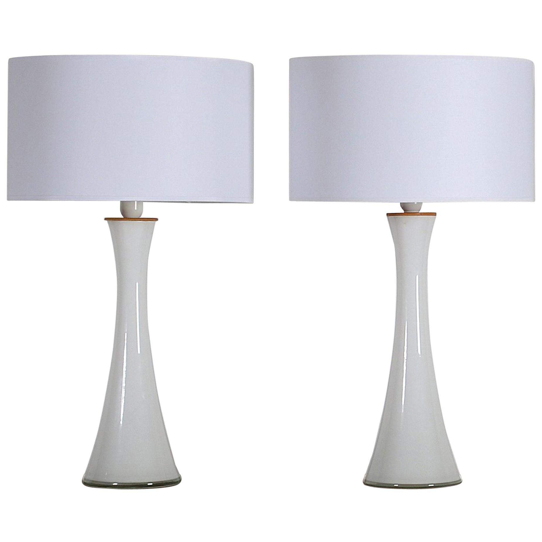 Chic Bergboms Pair of Opaline Glass with Teak Table Lamps, Sweden, circa 1960