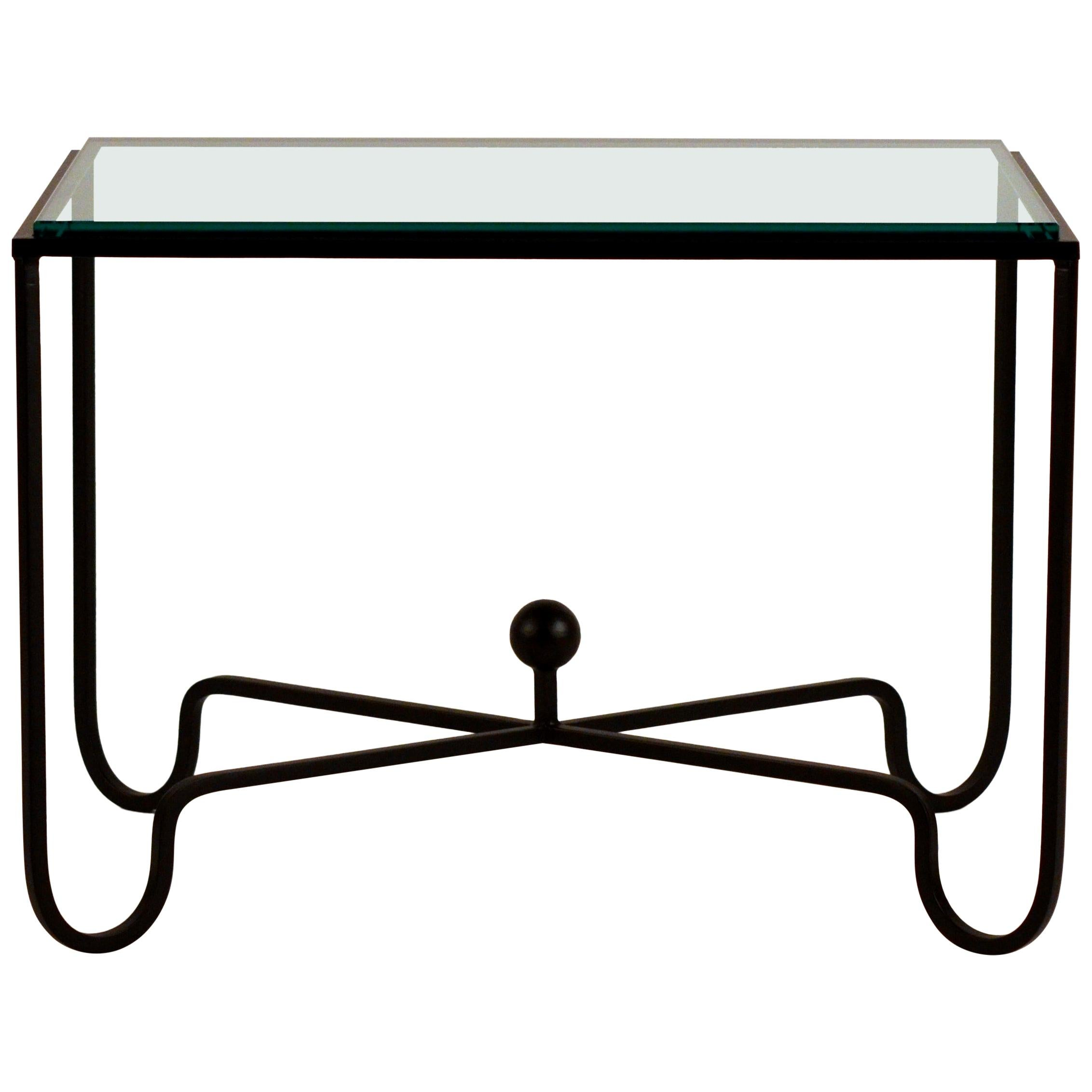 Chic Blackened Steel and Glass 'Entretoise' Side Table by Design Frères