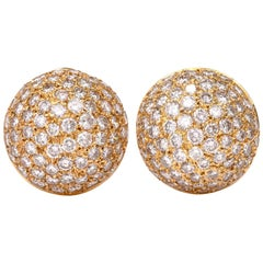 Chic Bombe Diamond Clip-On 18 Karat Gold Dome Earrings
