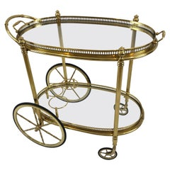 Chic Brass and Glass Oval Bar Cart with Removeable Tray