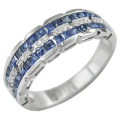 Chic Classic Combination Blue Sapphire Diamond White Gold Ring