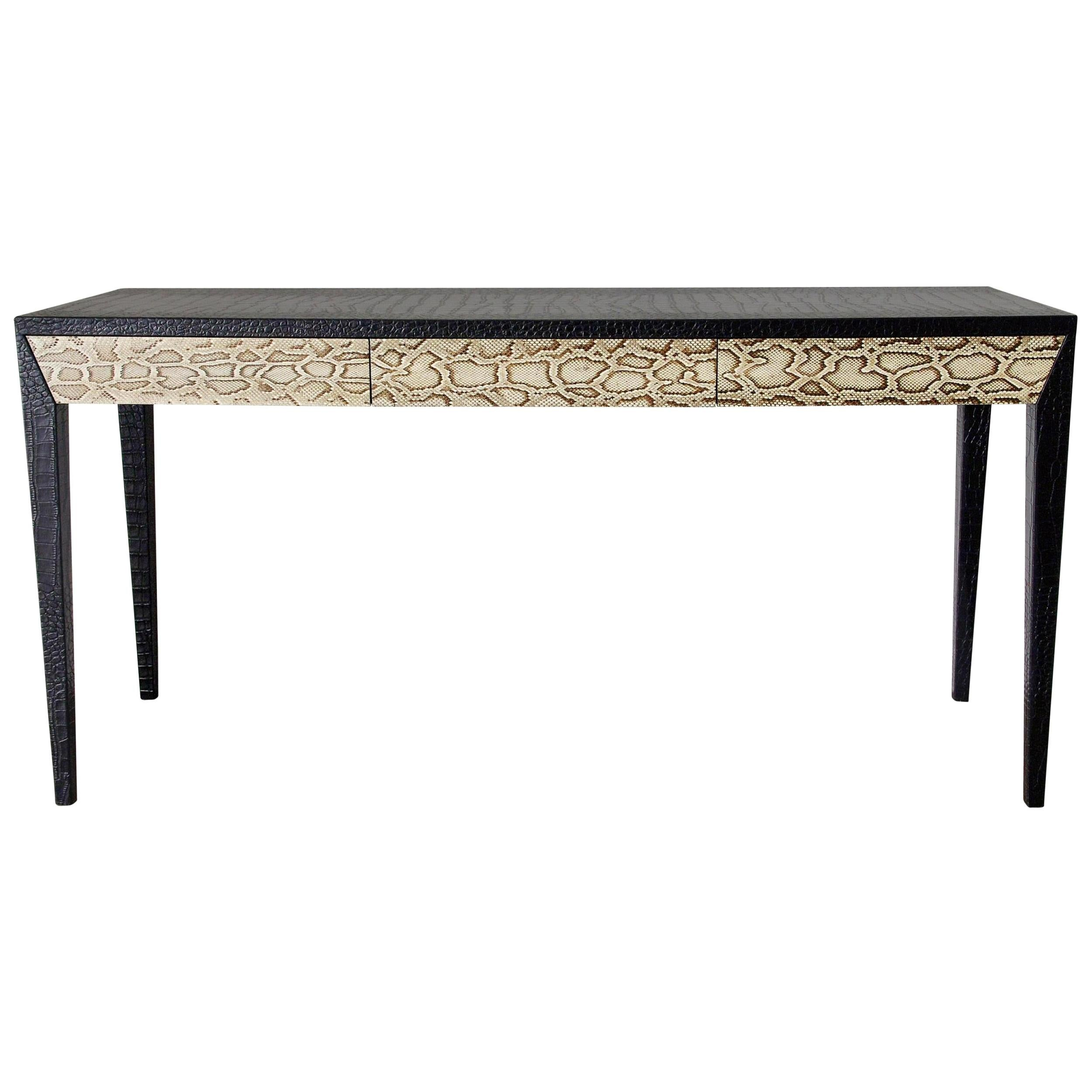 Chic Console Table w/ Black Leather & Snake Skin Attrib. to Karl Springer, 1970s