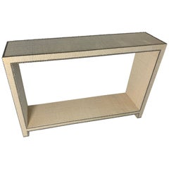 Chic Console Table With Raffia and Nickle Head Trim