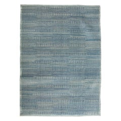 Chic & Contemporary Hand-Knotted Blue Wool Carpet