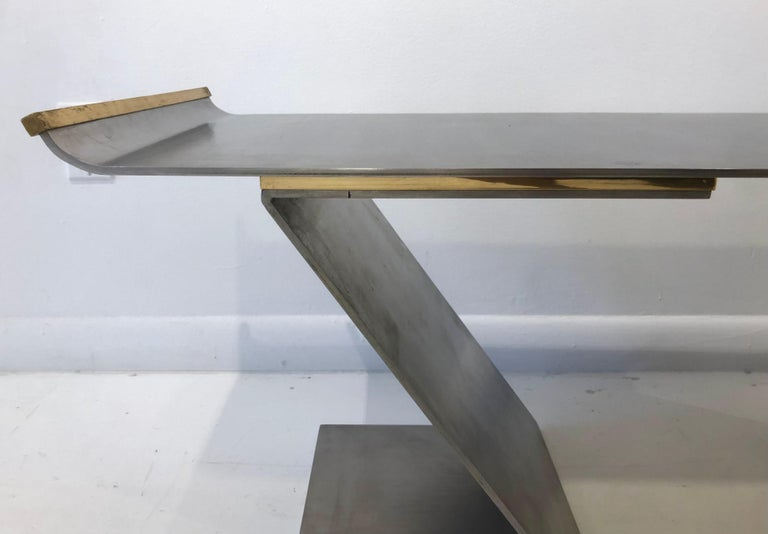 Late 20th Century Chic Custom Steel and Bronze Bench in the style of Maria Pergay For Sale
