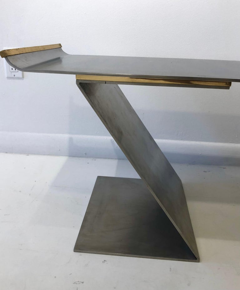 Chic Custom Steel and Bronze Bench in the style of Maria Pergay For Sale 2