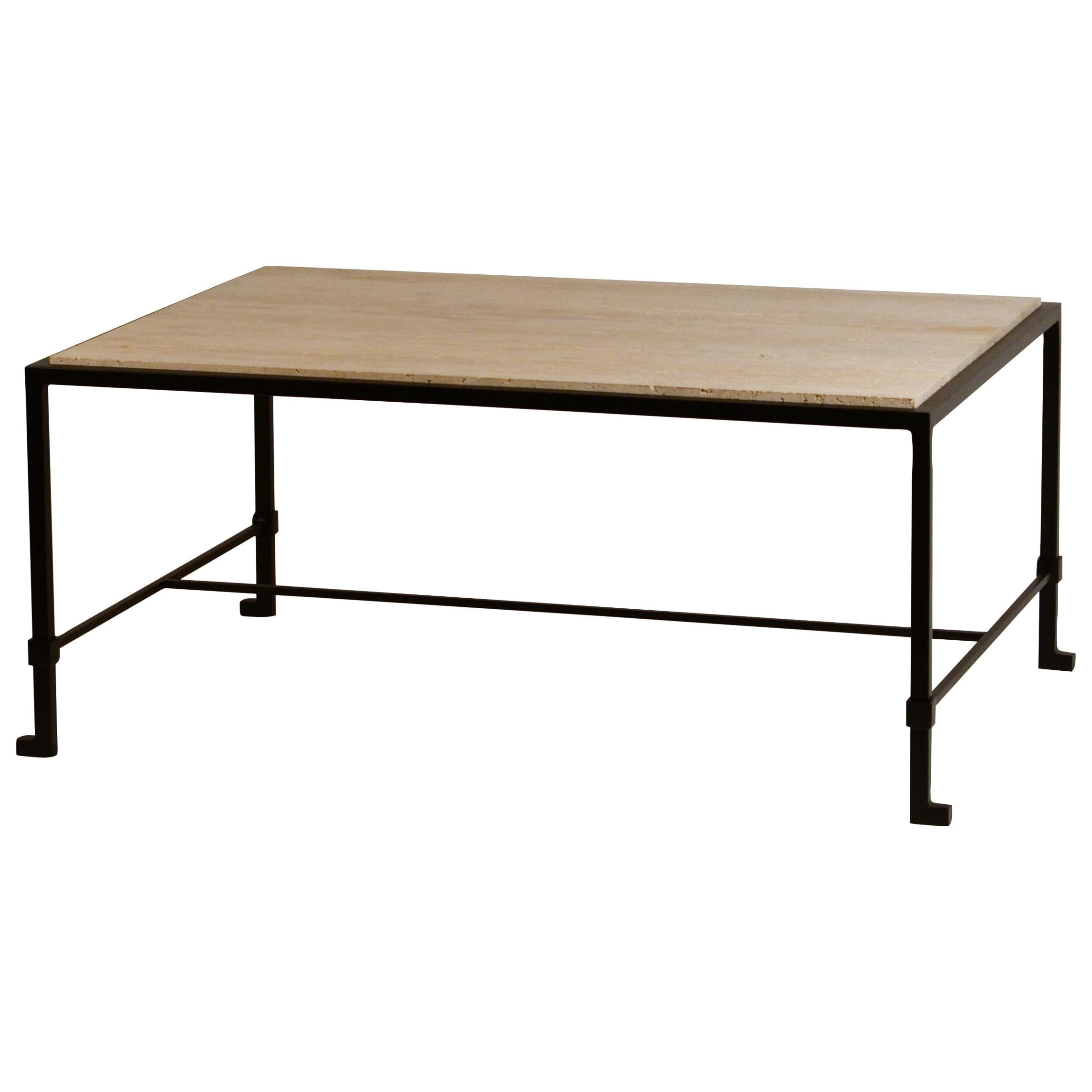 Chic 'Diagramme' Wrought Iron and Travertine Coffee Table