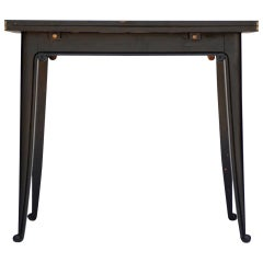 Chic Ebonized French 1940s Folding Center or Dining Table