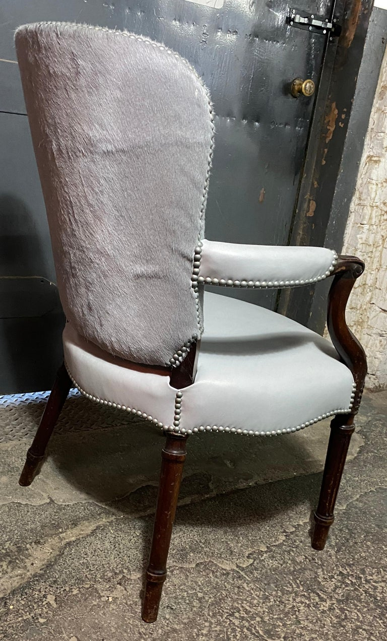 French Chic Fauteuil in a Soft Gray Leather Seat and Matching Hair-on-Hide Back For Sale