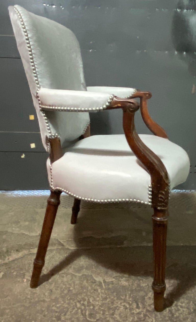 Mahogany Chic Fauteuil in a Soft Gray Leather Seat and Matching Hair-on-Hide Back For Sale