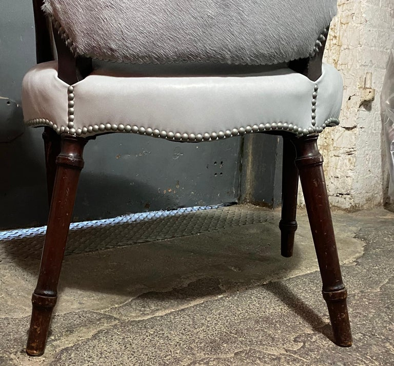 Chic Fauteuil in a Soft Gray Leather Seat and Matching Hair-on-Hide Back For Sale 2