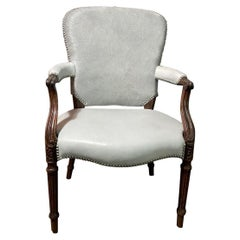 Chic Fauteuil in a Soft Gray Leather Seat and Matching Hair-on-Hide Back