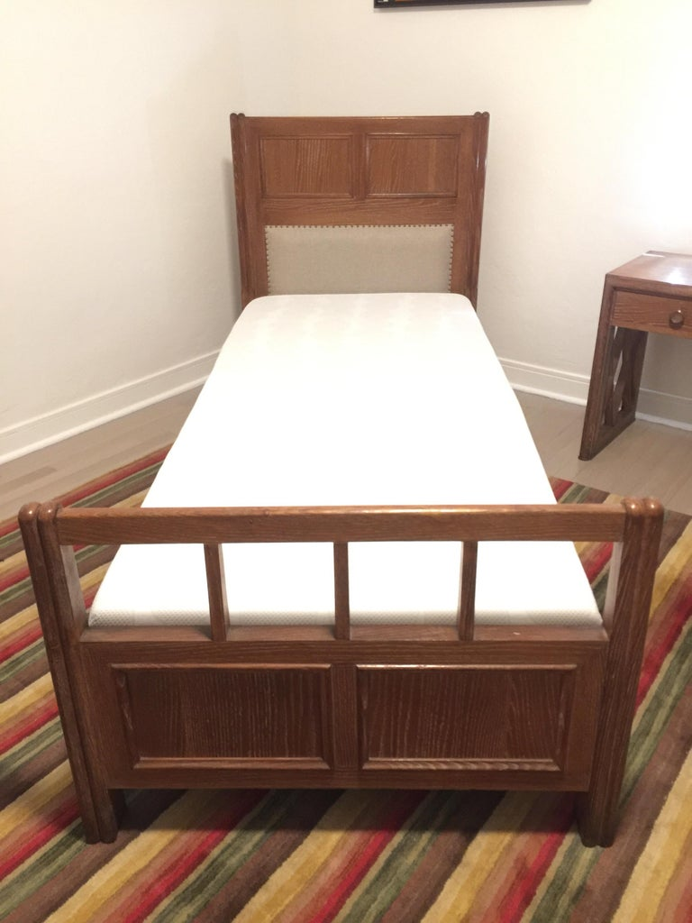 Chic French Oak Twin Beds From The 1940s Pair For Sale At