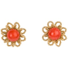 Chic Gold and Coral Flower Motif Earrings