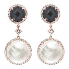 Chic Hematite Mother of Pearl Diamond Rose Gold Dangle Earrings