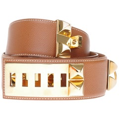 "Chic Hermès belt ""Collier de chien"" Médor in gold epsom leather, gold hardware"