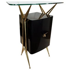 Chic Italian Dry Bar with Floating Glass Top and Brass Accents